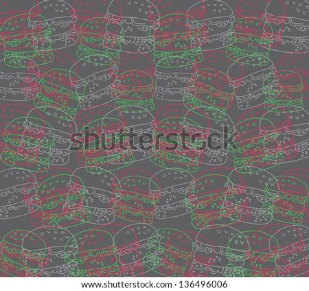 burger pattern background - stock vector
