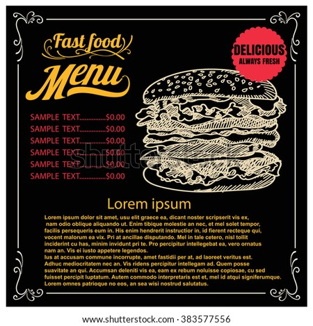 burger with meat menu and cost on vintage background. vector illustration eps 10