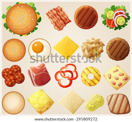 Burgers set. Top view. Ingredients: buns, cheese, bacon, tomato, onion, lettuce, cucumbers, pickle onions, beefs, ham. Vector illustration. - stock vector