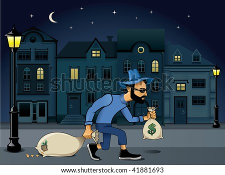 burglar walking jo the street at night - stock vector