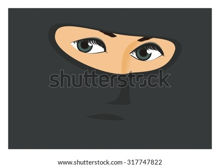 burglar woman simple illustration - stock vector