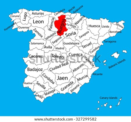 Burgos map, Spain province vector map. High detailed vector map of Spain with separated regions isolated on background. Spain autonomy areas map. Editable vector map of Spain.