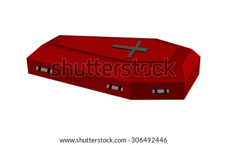 Burgundy expensive coffin for rich with handles on a white background. Vector illustration. - stock vector