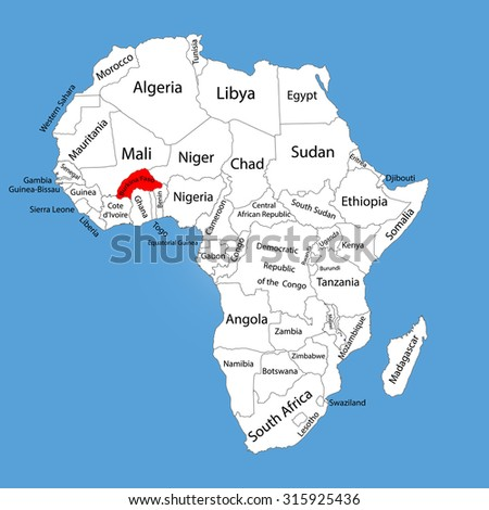 Burkina Faso vector map silhouette isolated on Africa map. Editable vector map of Africa. - stock vector