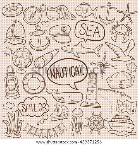 Burlap Texture Vintage Old Nautical Sea Sailor Doodle Icons Hand Made