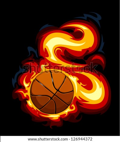 Burning basketball on black background. Vector illustration. - stock vector