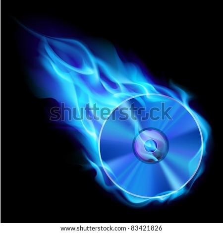 Burning blue CD. Illustration on black background for design - stock vector