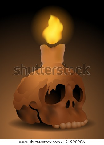 Burning Candle on a Skull - stock vector