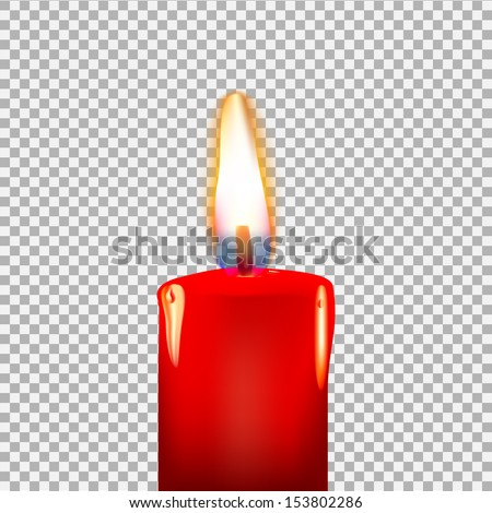 Burning candle on a transparent background