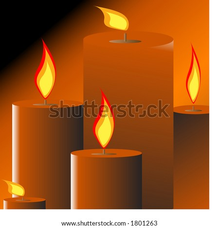 burning candles one of two - stock vector
