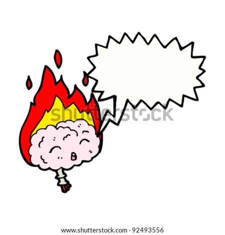 burning cartoon brain - stock vector
