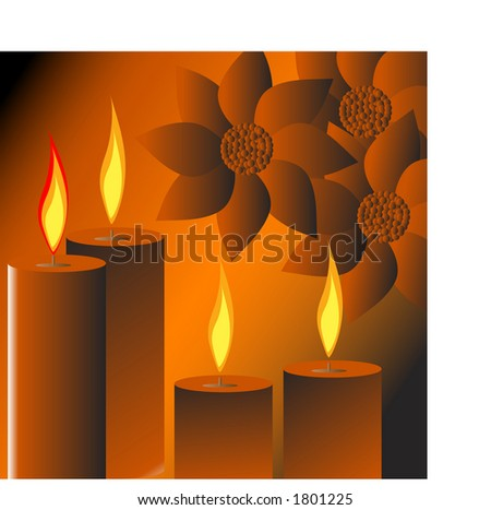 burning christmas candles with poinsettias - stock vector