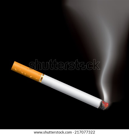 Burning cigarette on black background. Vector illustration - stock vector