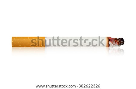Burning cigarette . Vector Illustration on white background.