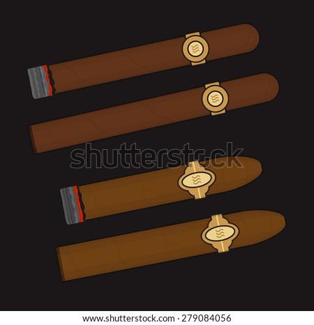 Burning cigars set. Vector clip art illustrations isolated on black  - stock vector