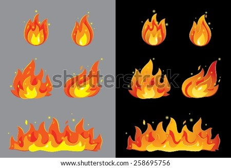 Burning fire - stock vector