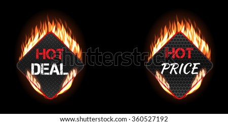 Burning fire vector label set on black background. Hot deal and price rhombus shapes with different patterns. Geometric shape pattern on fire. Fire flame shopping background. Realistic tongues of fire - stock vector