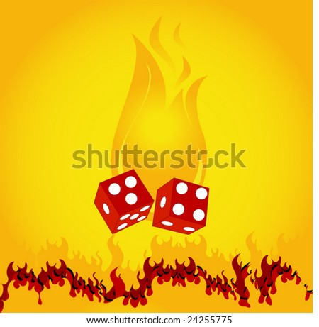 burning flame with dice - stock vector