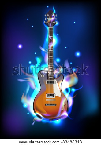 Burning guitar in blue flames, vector image eps10 - stock vector