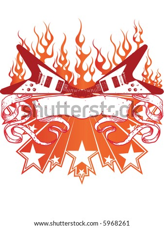 burning guitars with stars and banner - stock vector