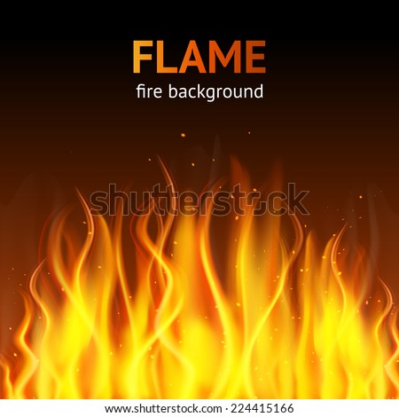 Burning hot flame campfire strokes realistic fire on dark background vector illustration