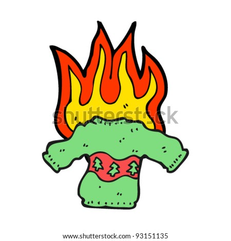 burning knitted christmas jumper cartoon