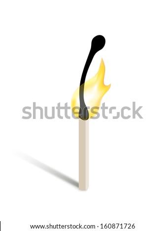 burning match - stock vector