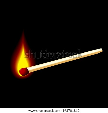Burning match on a black background for design - stock vector