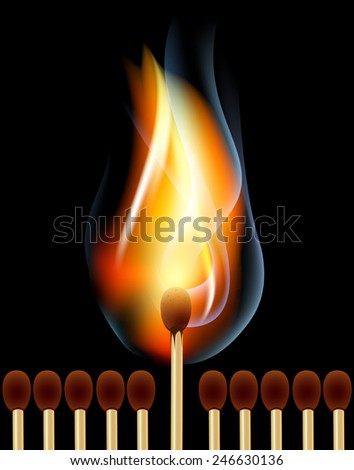 burning match on black background. vector - stock vector