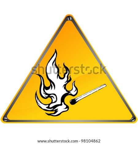 Burning match sign on a white background, vector illustration - stock vector