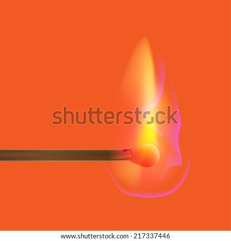 Burning match stick on a background, vector illustration - stock vector