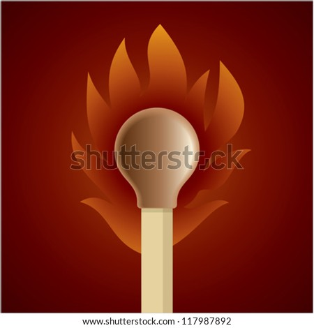 Burning match stick on a brown retro circle background - stock vector
