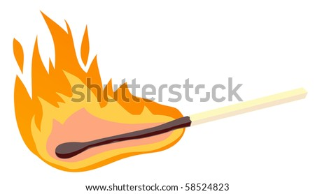 Burning match stick on a white background, vector illustration