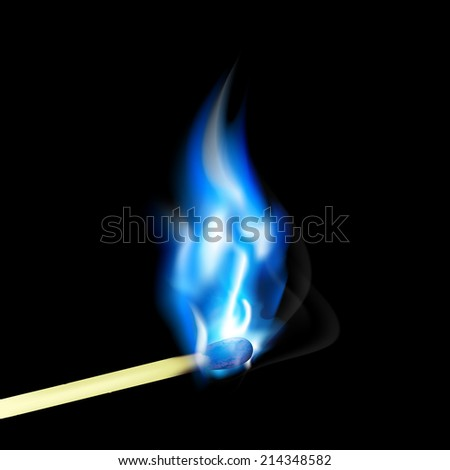 Burning match with blue flame - stock vector