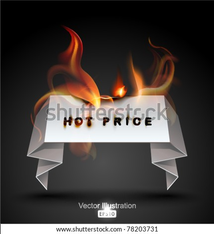 Burning Paper Banner. Hot Price. - stock vector