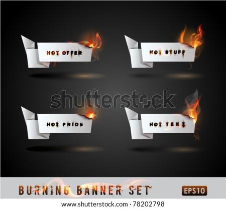 Burning paper Origami banner Set. Vector Illustration. - stock vector