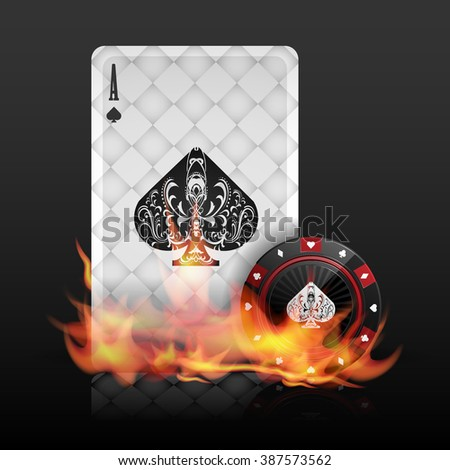 Burning poker card and chip vector - stock vector