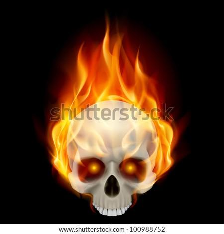 Burning skull in hot flame. Illustration on black background for design - stock vector