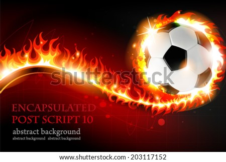 Burning soccer ball on a red background with abstract fire - stock vector
