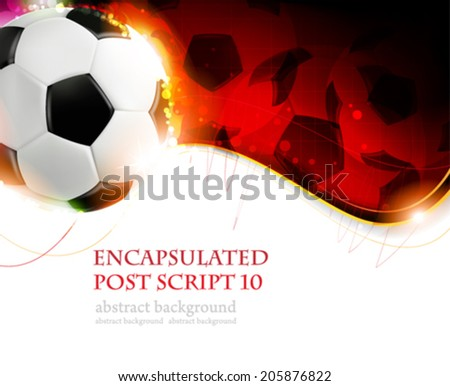 Burning soccer ball on wavy red  background with place for text  - stock vector