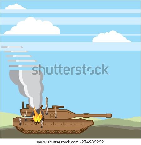 Burning Tank vector - stock vector