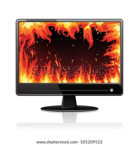 Burning TV - stock vector