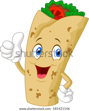 burrito cartoon character giving thumbs up - stock vector