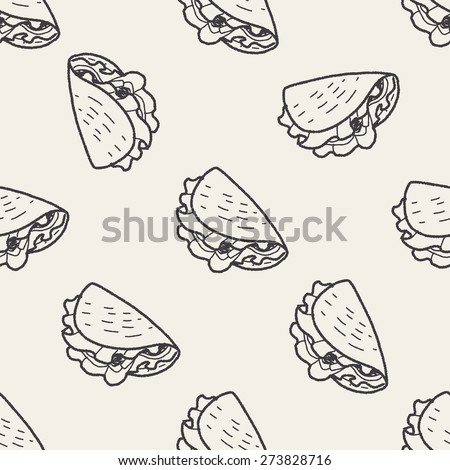 burrito doodle seamless pattern background - stock vector