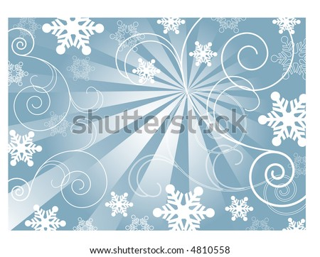 burst coils and snowflake background vector - stock vector