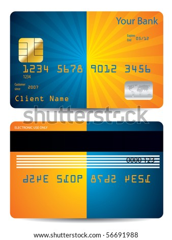Burst credit card design - stock vector