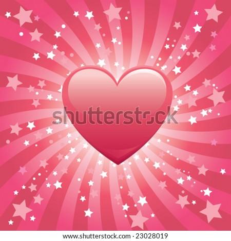 Bursting Heart Background - stock vector