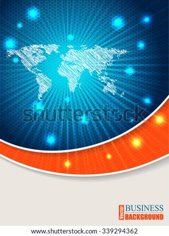 Bursting world map brochure design with orange wave - stock vector