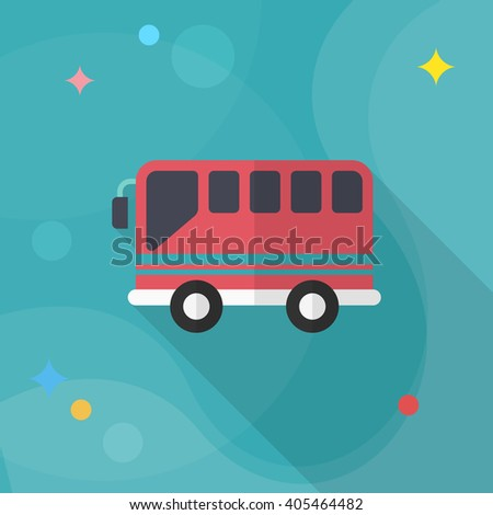 Bus icon , Vector flat long shadow design. Transport concept.