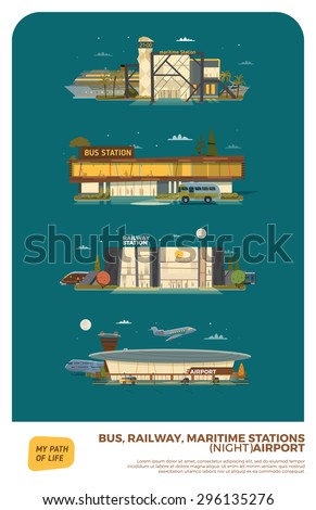 Bus, maritime, railway stations and airport. Night version with stars and moon - stock vector